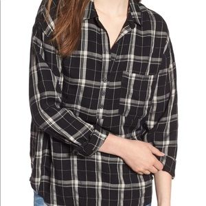 Lush Black and White Plaid Top